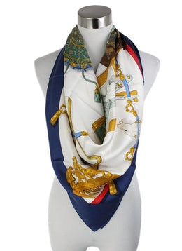"Hermes White Navy Gold Silk Red ""as is"" Scarf 1"