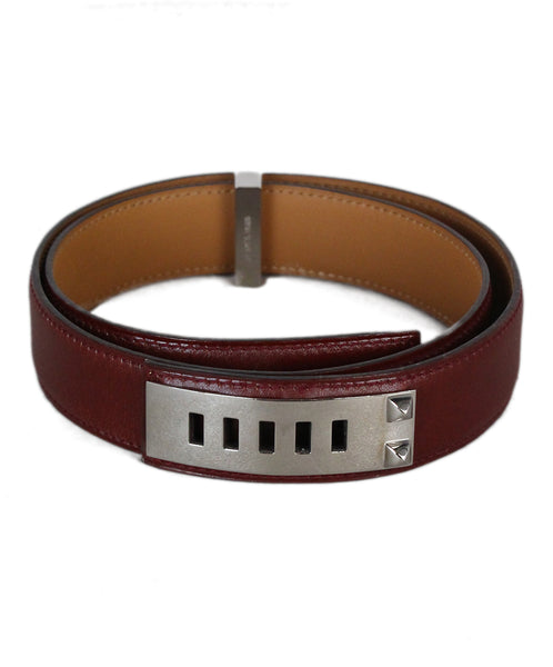 Hermes Mini 75 burgundy leather belt 1