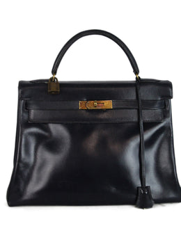 Hermes Navy leather 32cm Kelly bag 1