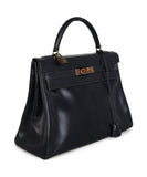 Hermes Navy leather 32cm Kelly bag 2