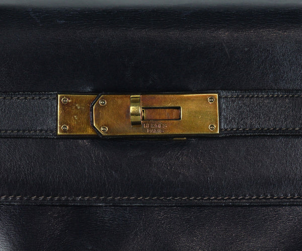 Hermes Navy leather 32cm Kelly bag 8