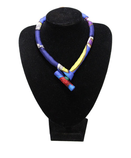 Hermes Blue Purple Print Silk Necklace