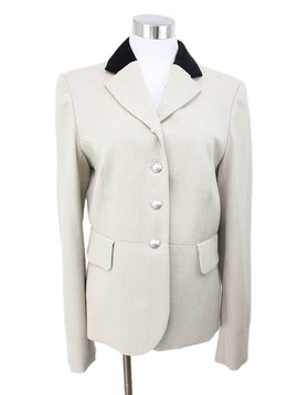 Hermes Neutral Beige Blazer with Black Velvet Collar 1