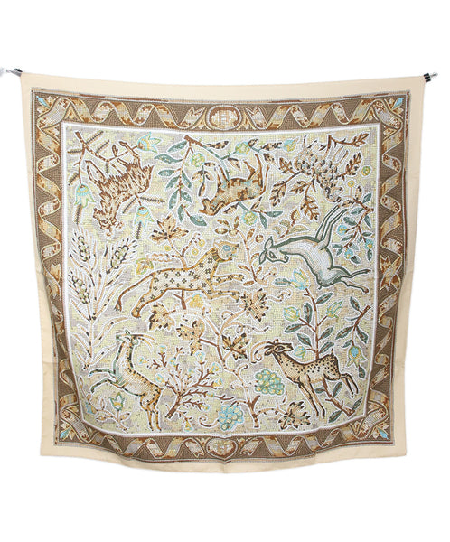 Hermes Vintage Neutral Yellow Silk Scarf with Pavement Animal Mosaic Print 1