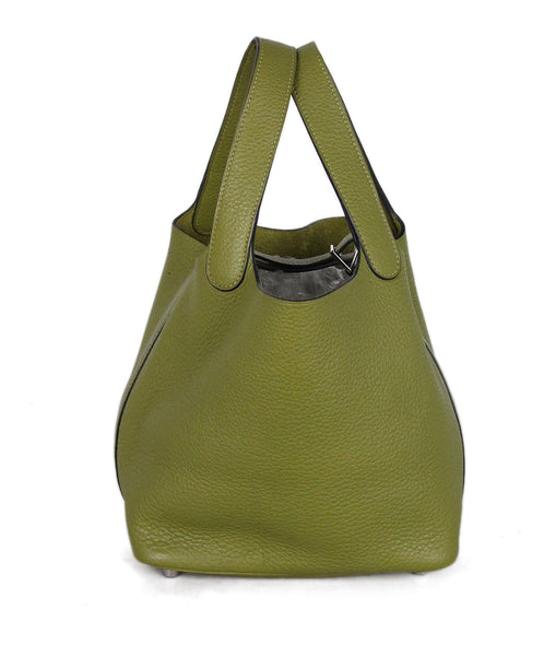 Hermes Olive Leather Picotin Handbag 1