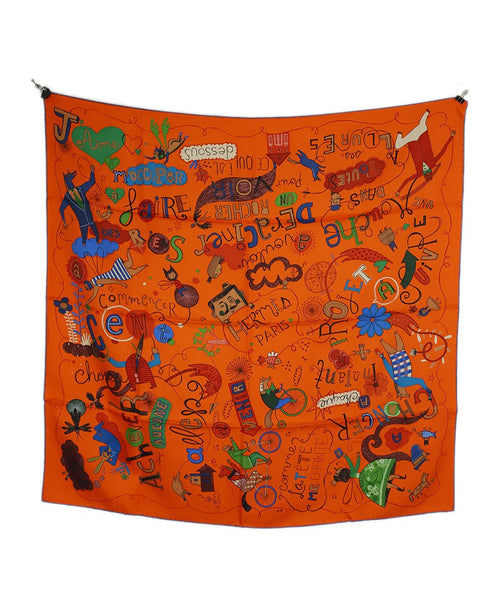 Hermes Orange Black Lavender Multiple Print Silk Scarf 2