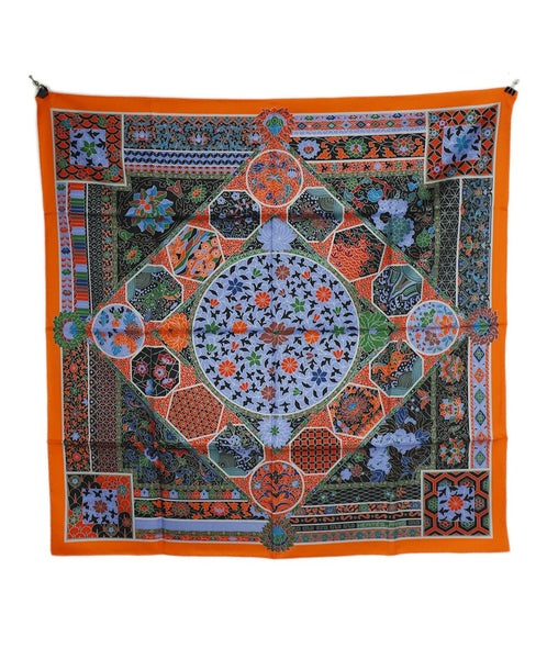 Hermes Orange Blue Green French Wording Silk Scarf 2