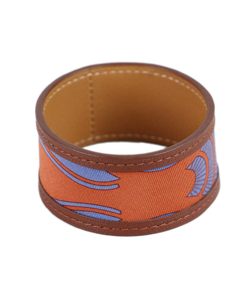 Hermes Orange Blue Silk Leather Bracelet