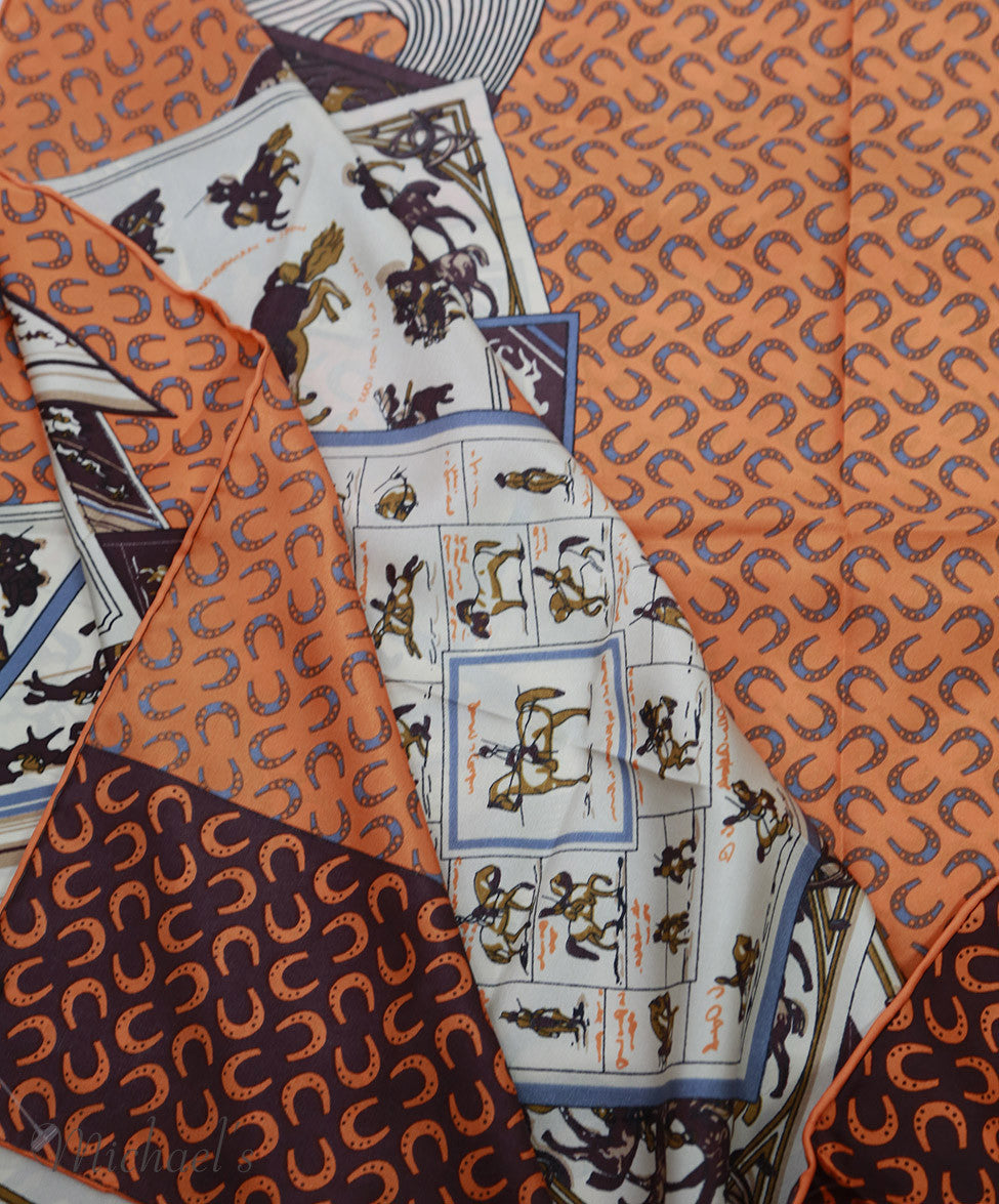 Hermes Orange Brown Cream Silk Scarf