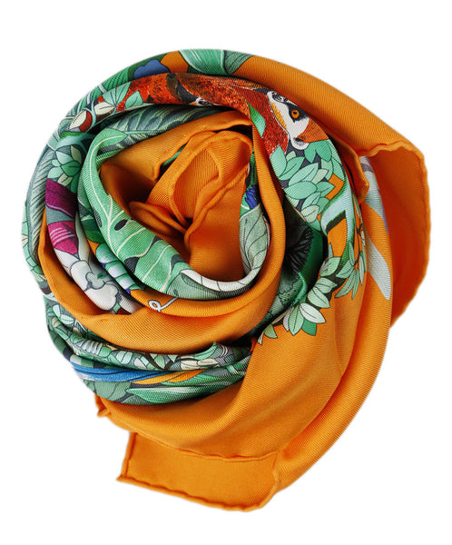 Hermes Orange Multi Silk W/Box Scarf