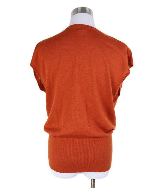 Hermes Orange Rust Cashmere Top 2