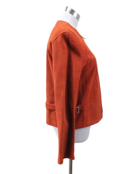 Hermes Orange Suede Leather Jacket 1