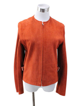 Hermes Orange Suede Leather Jacket