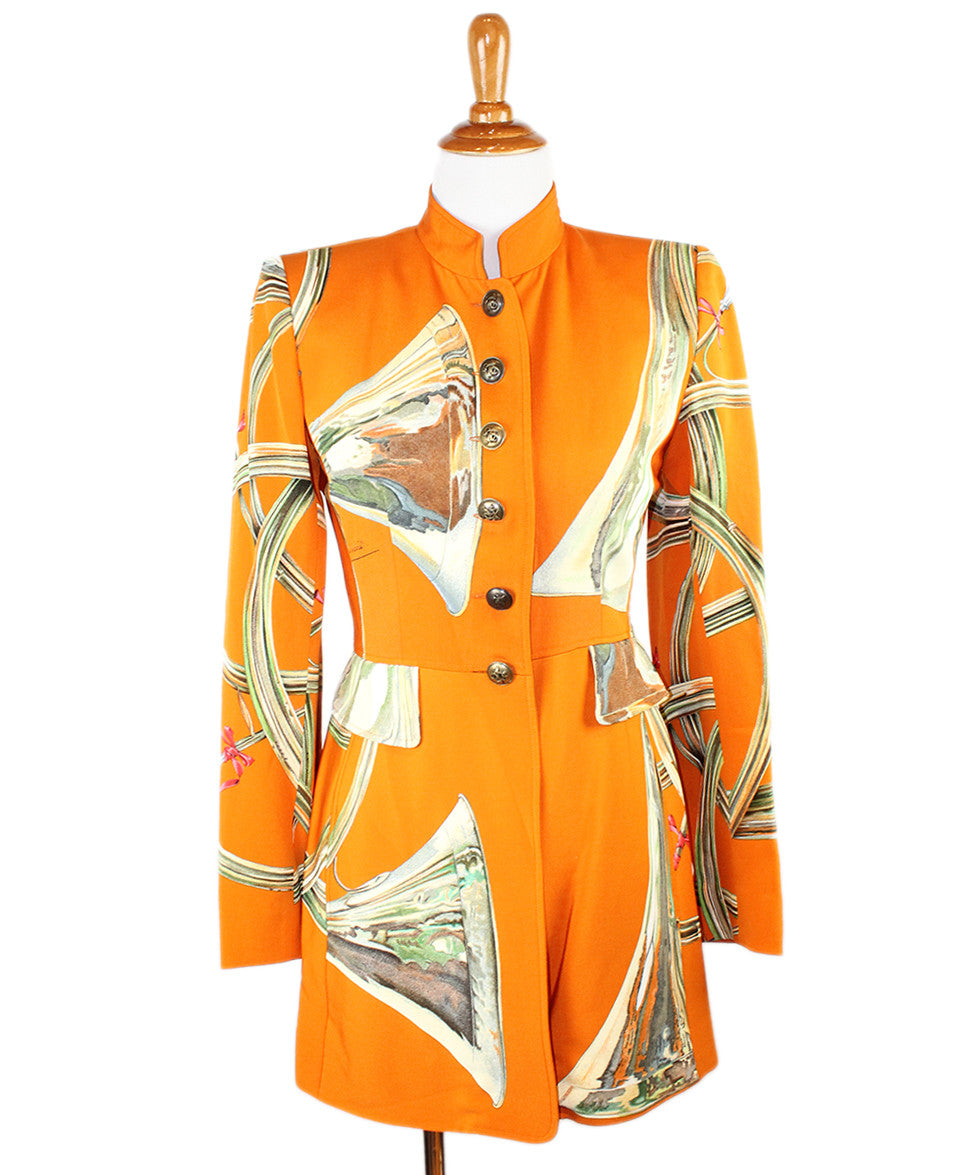 Hermes  Orange Multi Silk Vintage Jacket Sz 6 - Michael's Consignment NYC  - 1