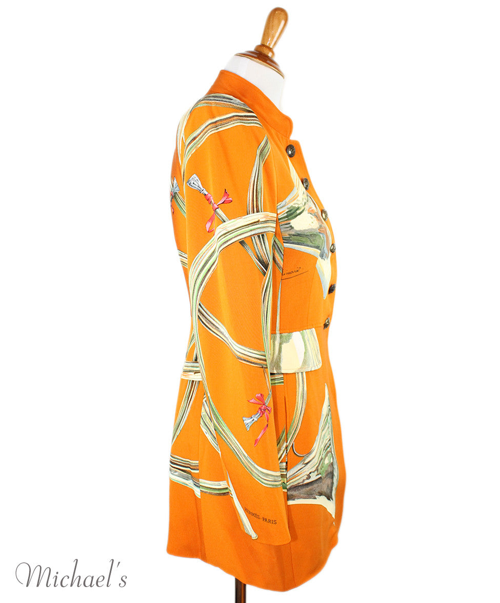 Hermes  Orange Multi Silk Vintage Jacket Sz 6 - Michael's Consignment NYC  - 2