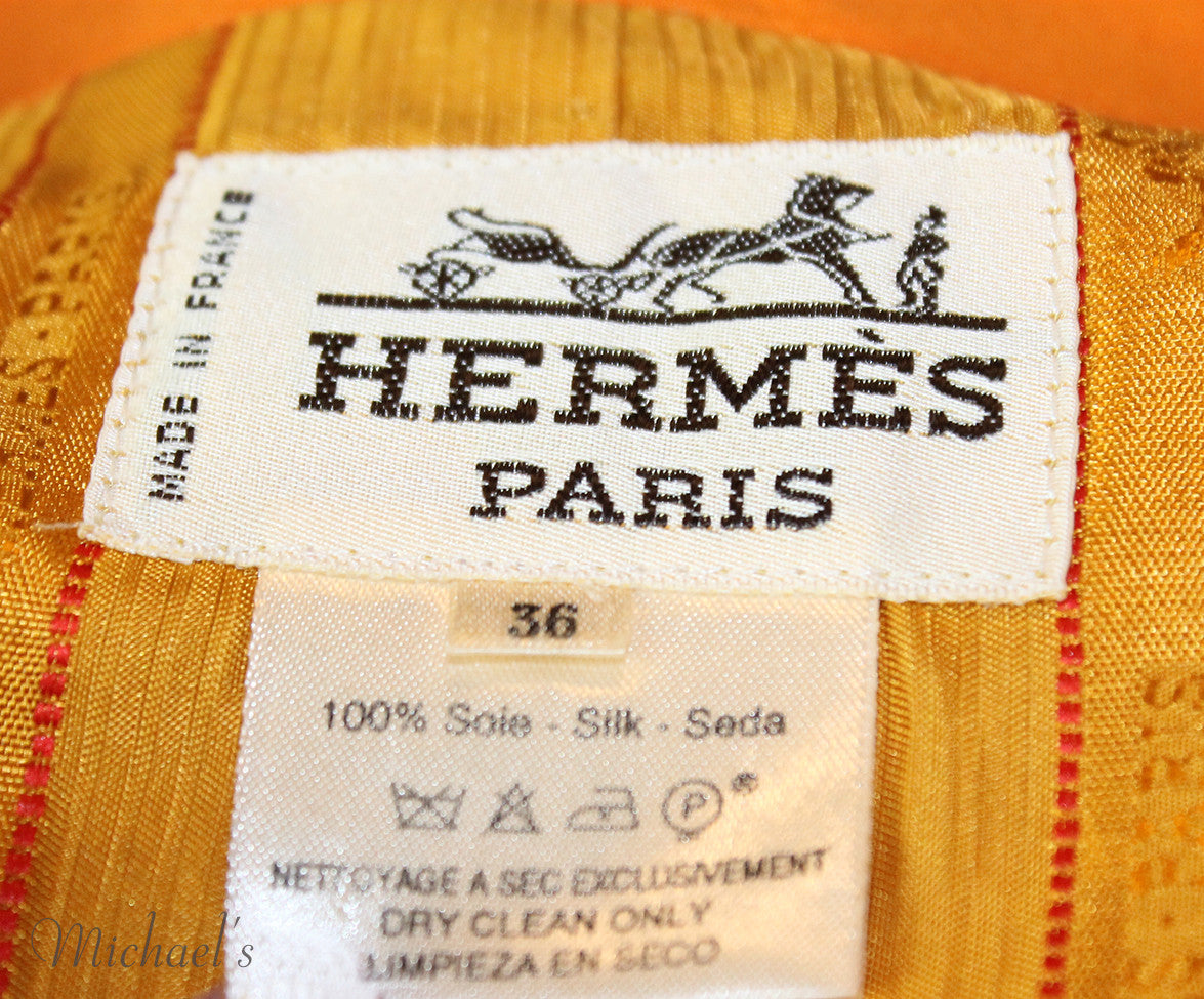 Hermes  Orange Multi Silk Vintage Jacket Sz 6 - Michael's Consignment NYC  - 4