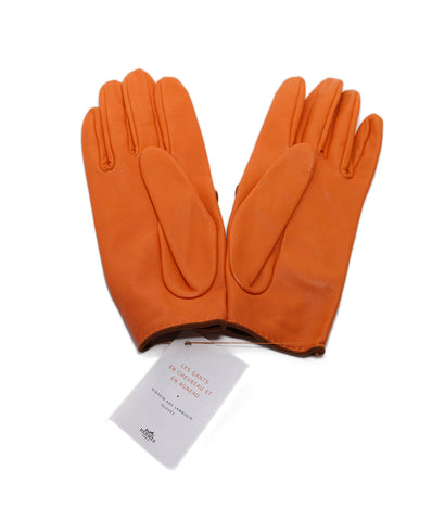 Hermes Orange leather gloves 1
