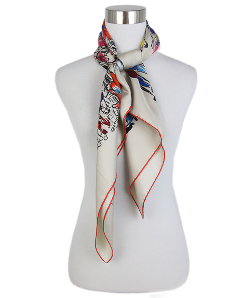 Hermes People horse print red blue scarf 3