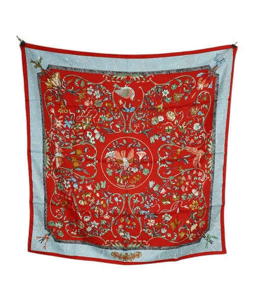 Hermes Red Baby Blue 'Pierres d'Occident Silk Scarf 2