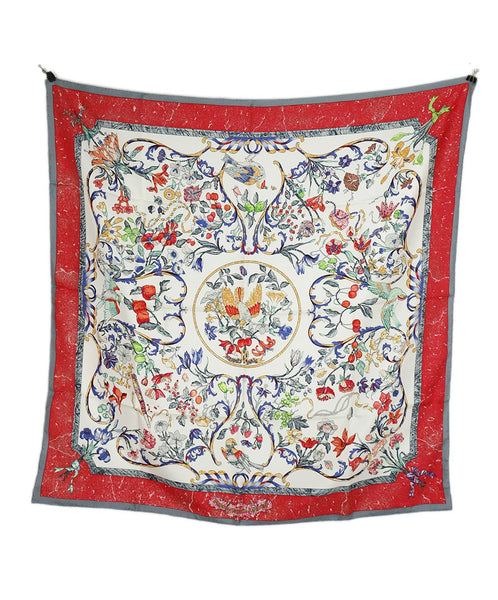 Hermes White Floral Red Garnet Grey 'Pierres d' Occident' Scarf 2