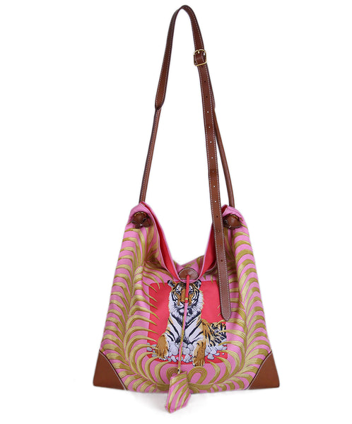 Hermes Pink Gold Silk Tiger Print Bag 1