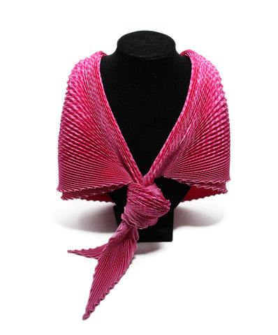 Hermes Pink silk pleated scarf 1