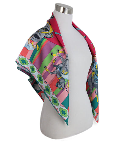 Hermes Pink yellow polo match print scarf 4
