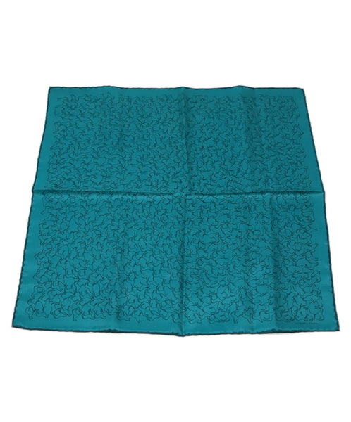 Hermes Teal Silk Pocket Square with Horse motif 1
