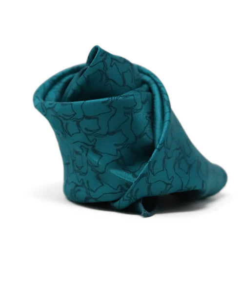 Hermes Teal Silk Pocket Square with Horse motif 3