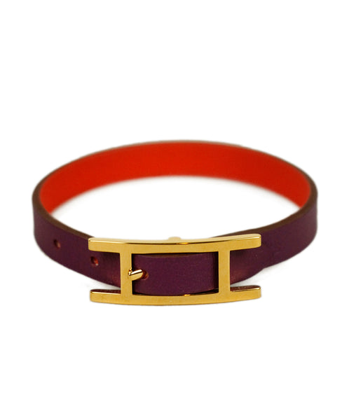 Hermes Purple Leather Bracelet 1