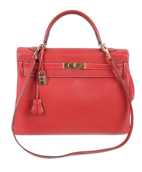 Gold Hardware Hermes Red Blue Leather W/Lock & Key W/Strap Handbag - Michael's Consignment NYC  - 1