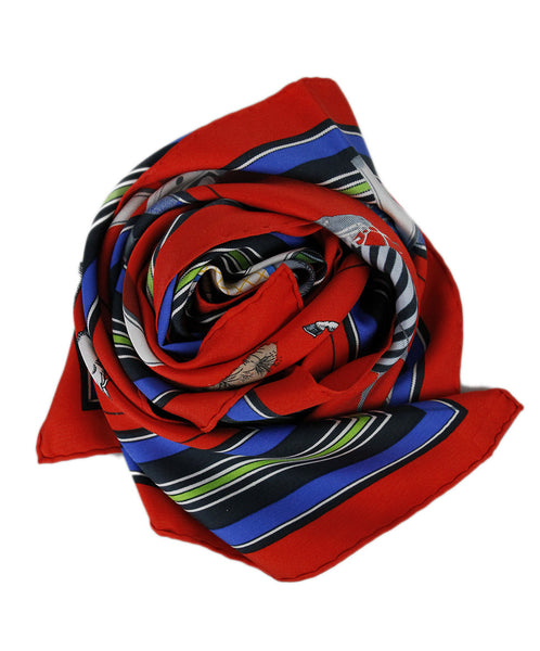 Hermes Red Silk Blue White Scarf
