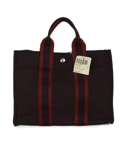 Hermes Red Burgundy Canvas Holdall PM Tote