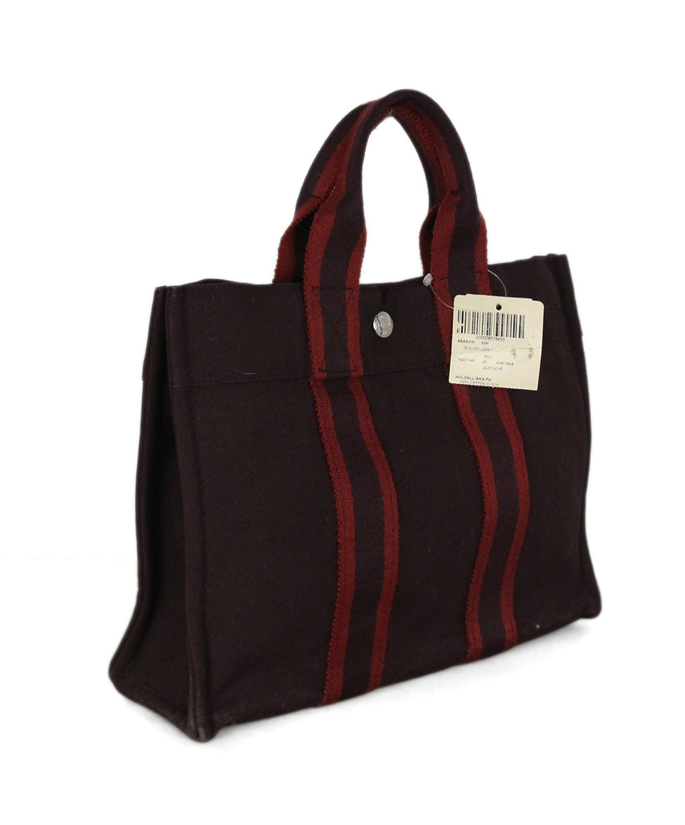 Hermes Red Burgundy canvas Hodall PM tote 2