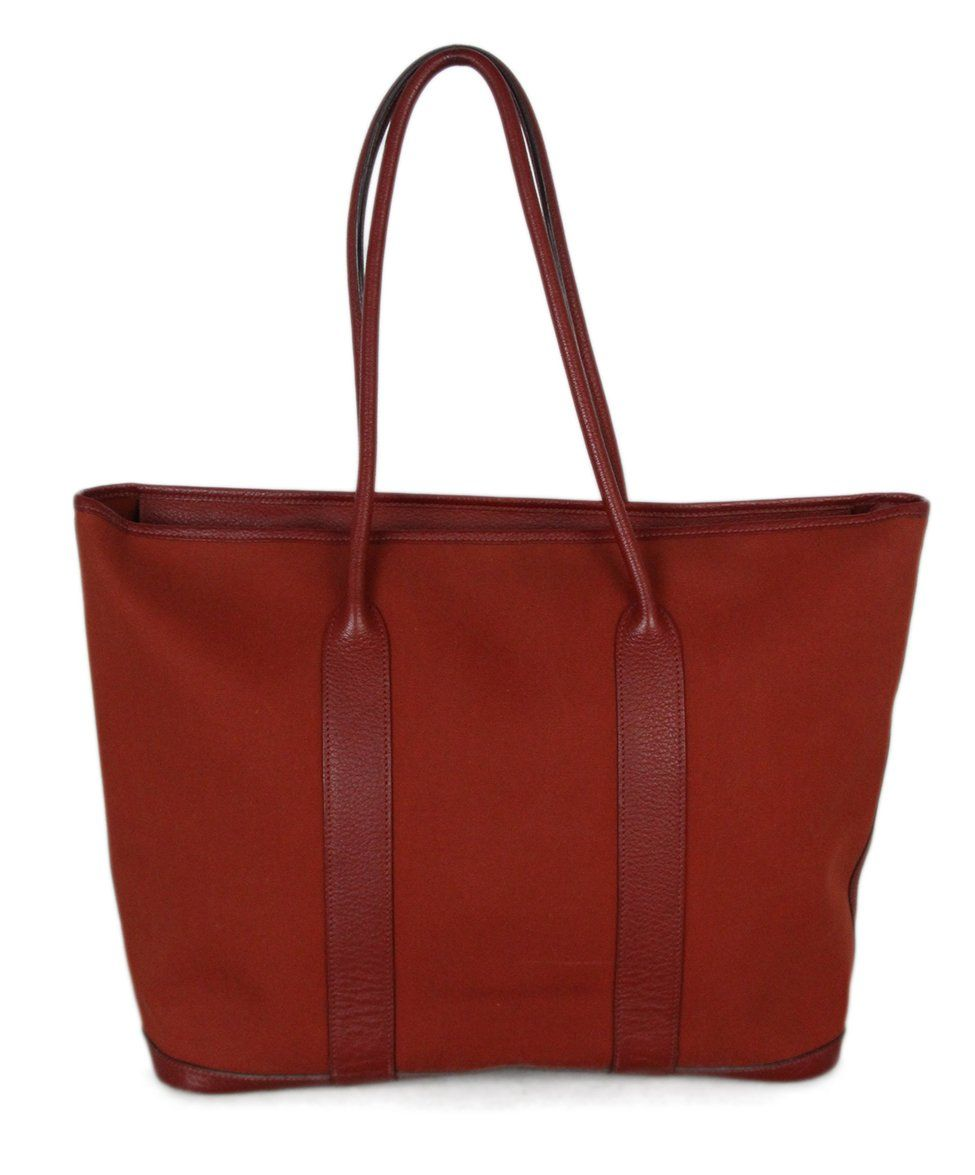 Hermes Red Canvas Leather Tote 1