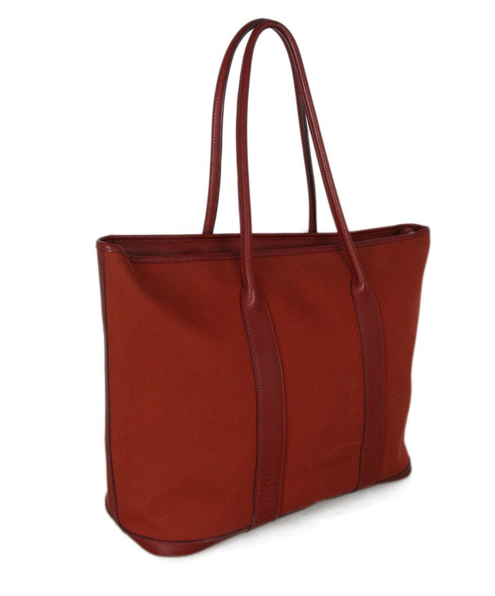 Hermes Red Canvas Leather Tote 2
