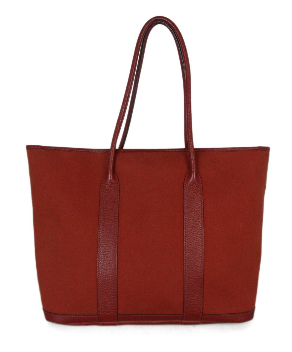 Hermes Red Canvas Leather Tote 3