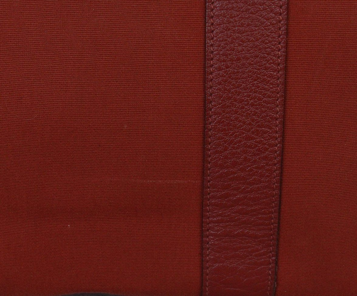 Hermes Red Canvas Leather Tote 7