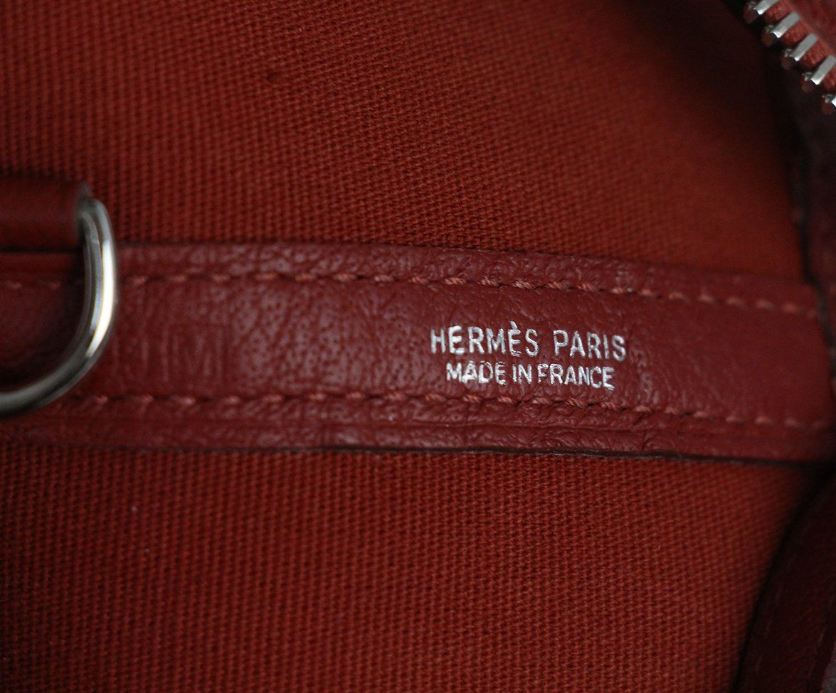Hermes Red Canvas Leather Tote 10