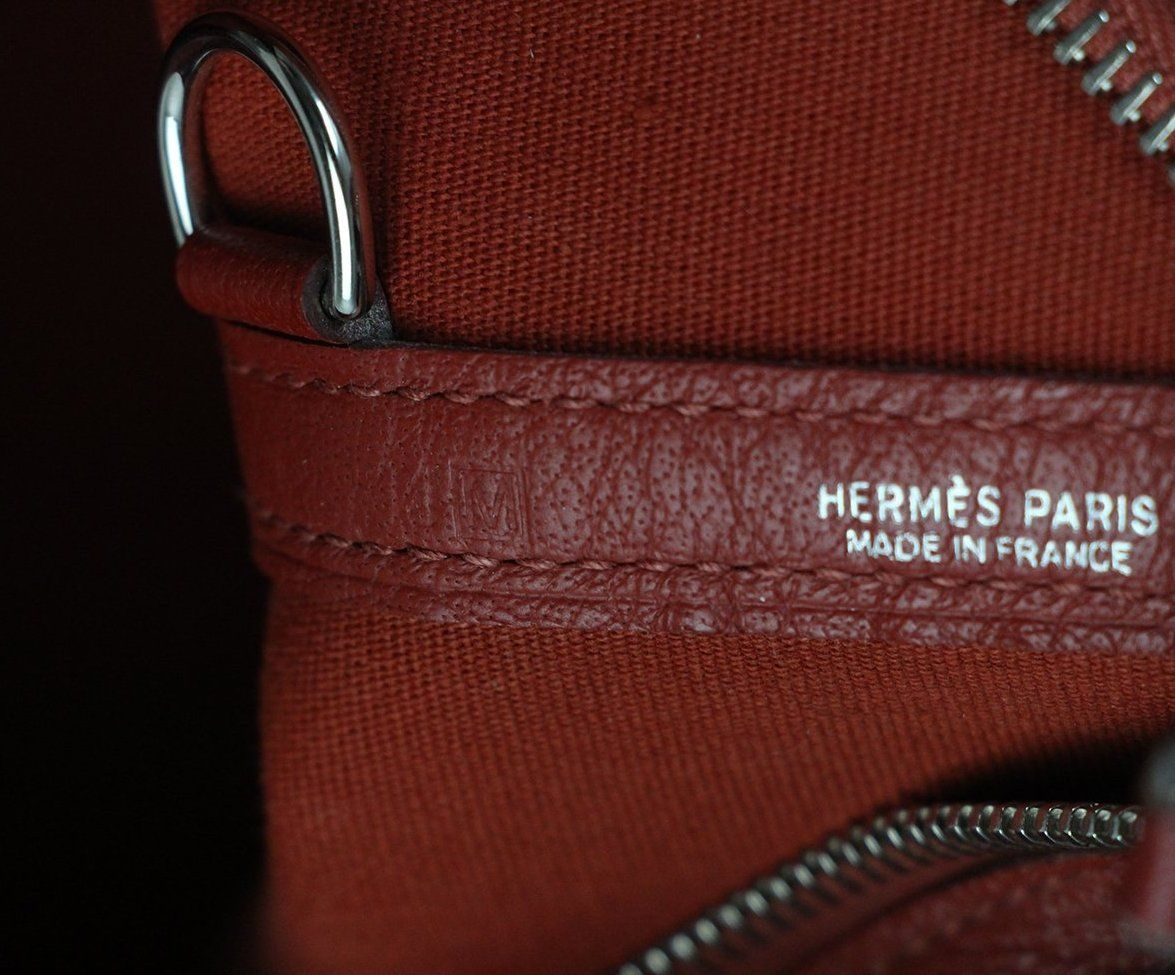 Hermes Red Canvas Leather Tote 11