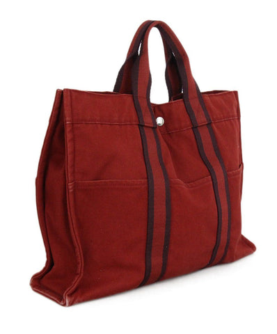 Hermes Red Canvas Tote 1