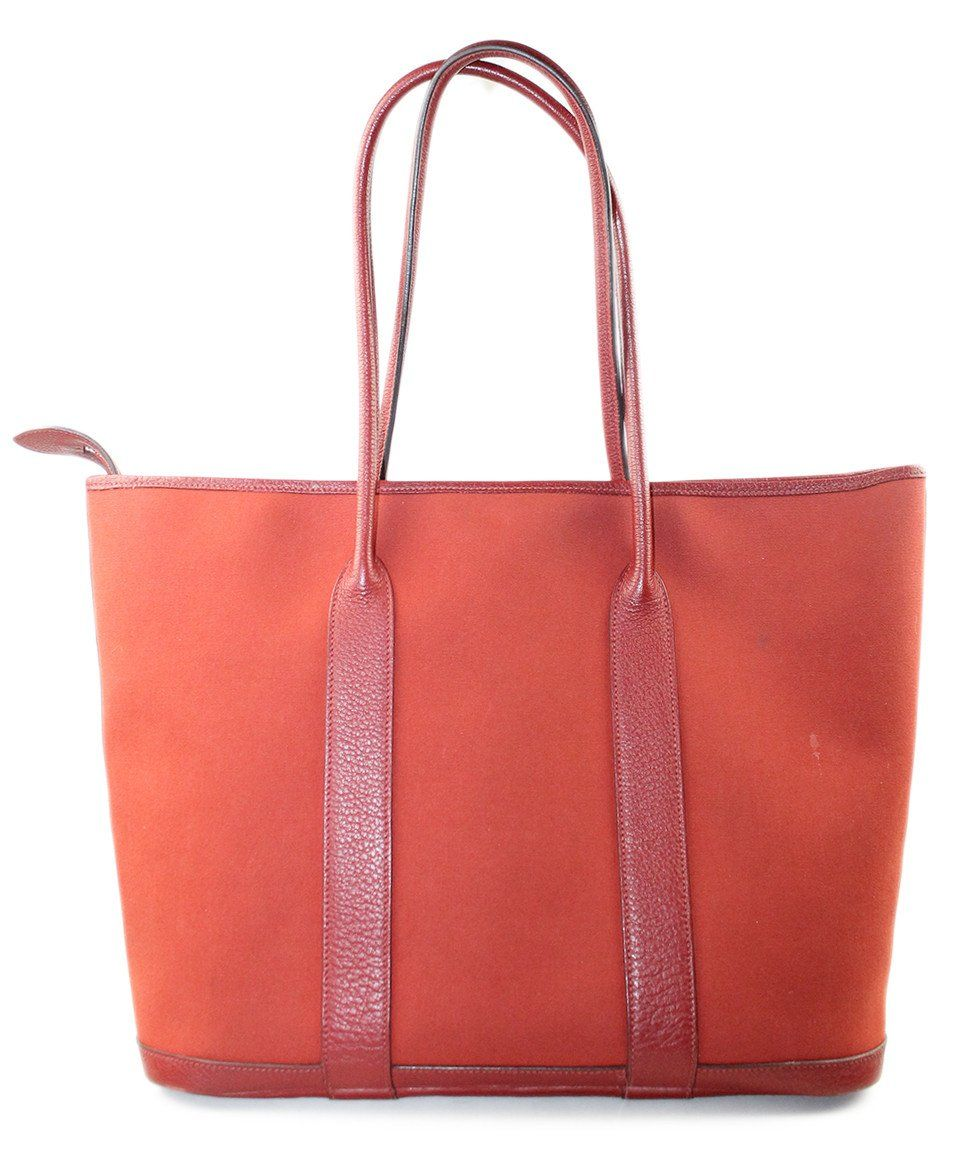 "Tote Hermes Red Canvas Leather ""as is"" Handbag - Michael's Consignment NYC  - 1"