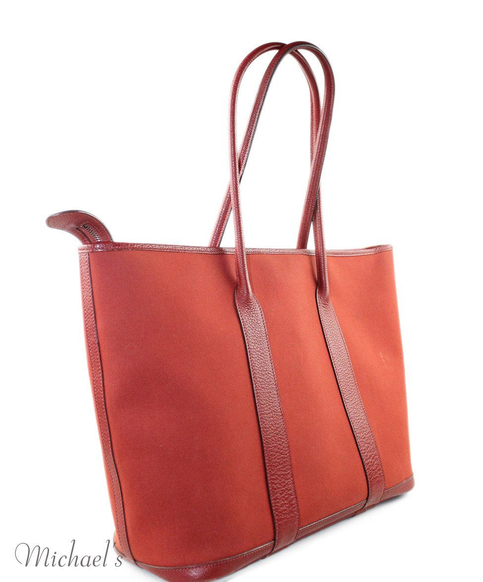 "Tote Hermes Red Canvas Leather ""as is"" Handbag - Michael's Consignment NYC  - 2"