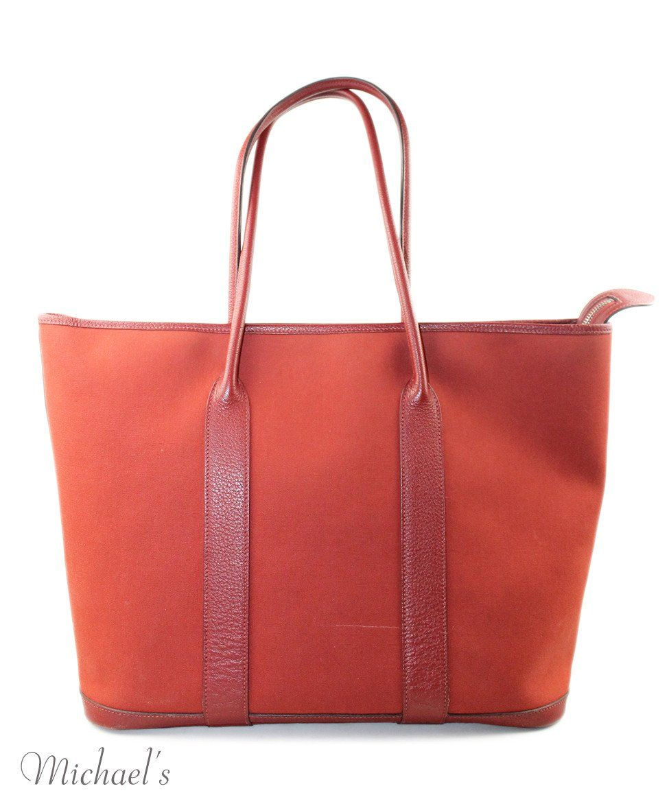 "Tote Hermes Red Canvas Leather ""as is"" Handbag - Michael's Consignment NYC  - 3"