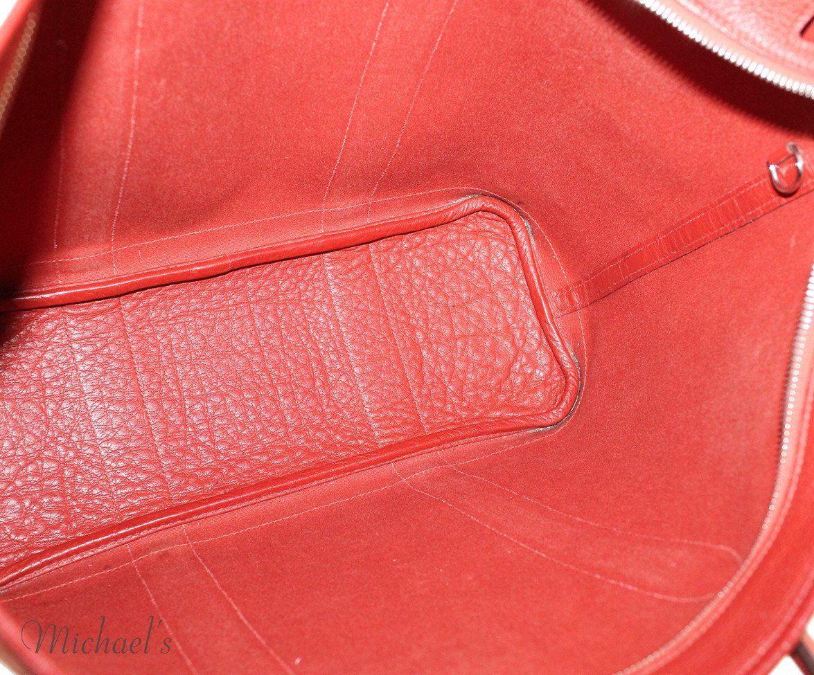 "Tote Hermes Red Canvas Leather ""as is"" Handbag - Michael's Consignment NYC  - 5"