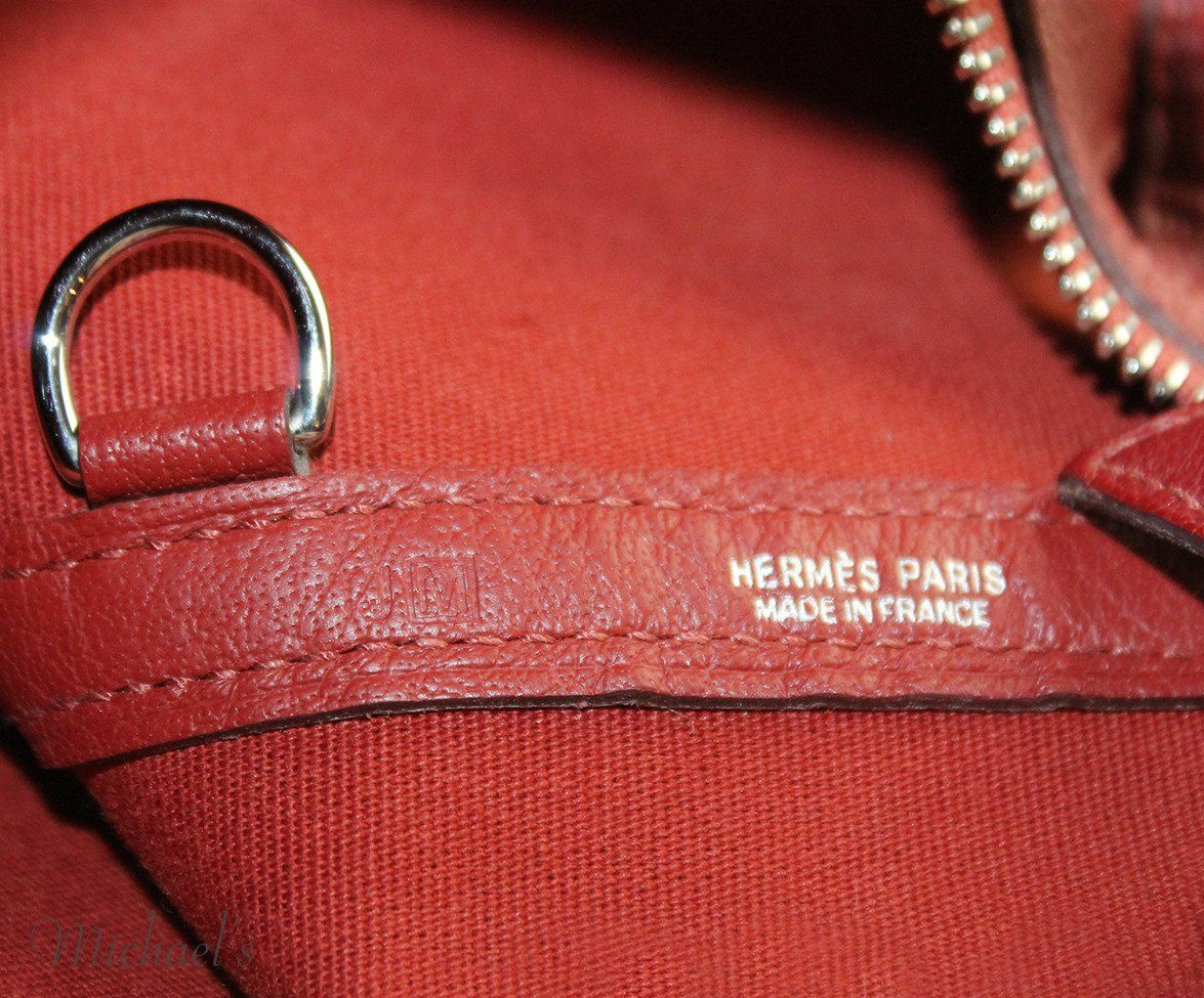 "Tote Hermes Red Canvas Leather ""as is"" Handbag - Michael's Consignment NYC  - 6"