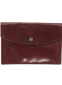Hermes Red Leather Clutch Handbag 1