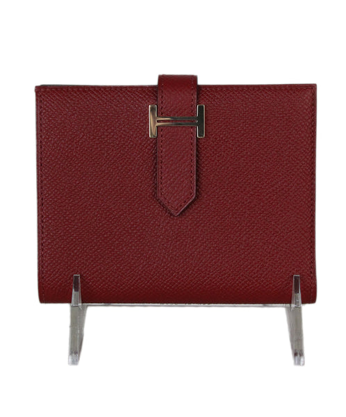 Hermes Red Leather Mini H Bearn Wallet 1