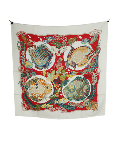 Hermes Red White Green Fish Print Silk Scarf 2