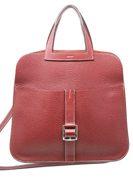 "Hermes ""Halzan"" Burgundy Leather Handbag"